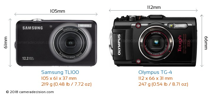 Samsung TL100 vs Olympus TG-4 Camera Size Comparison - Front View