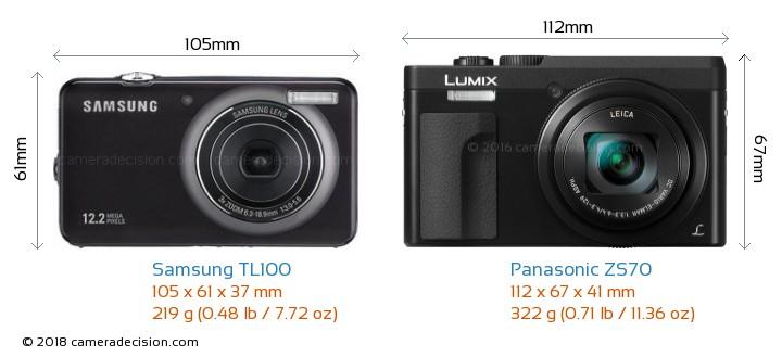 Samsung TL100 vs Panasonic ZS70 Camera Size Comparison - Front View