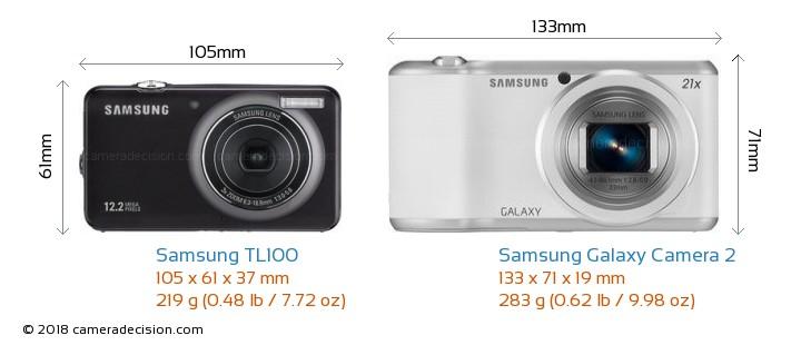 Samsung TL100 vs Samsung Galaxy Camera 2 Camera Size Comparison - Front View