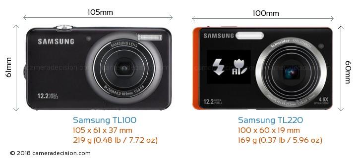 Samsung TL100 vs Samsung TL220 Camera Size Comparison - Front View