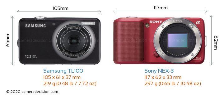 Samsung TL100 vs Sony NEX-3 Camera Size Comparison - Front View