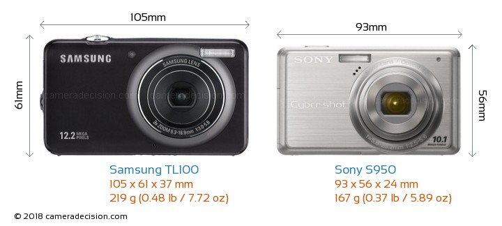 Samsung TL100 vs Sony S950 Camera Size Comparison - Front View