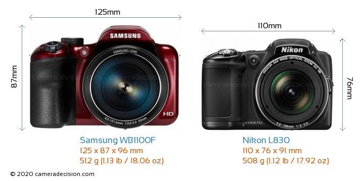 Samsung WB1100F vs Nikon L830 Camera Size Comparison - Front View
