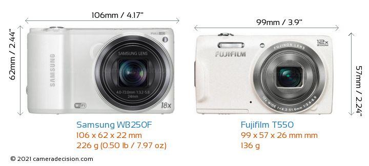 samsung wb250f vs fujifilm t550 detailed comparison