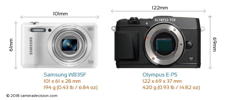 Samsung WB35F vs Olympus E-P5 Camera Size Comparison - Front View