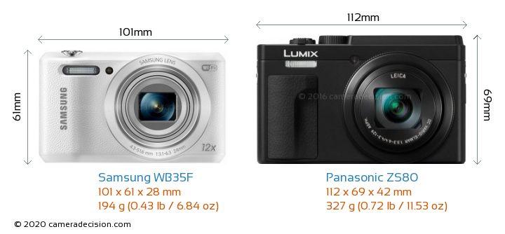 Samsung WB35F vs Panasonic ZS80 Camera Size Comparison - Front View