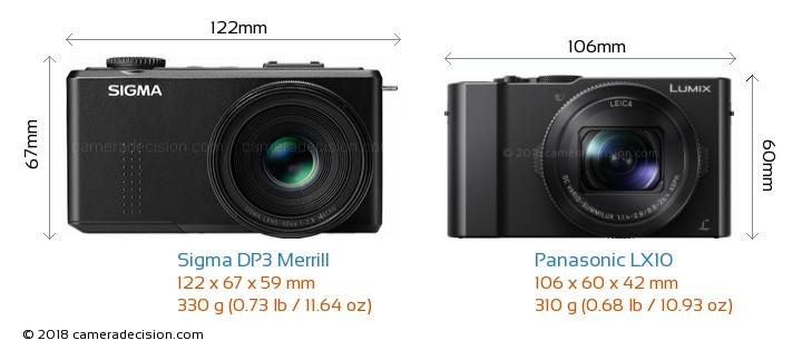 Sigma DP3 Merrill vs Panasonic LX10 Camera Size Comparison - Front View