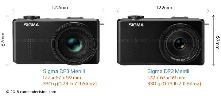 Sigma DP3 Merrill vs Sigma DP2 Merrill Camera Size Comparison - Front View
