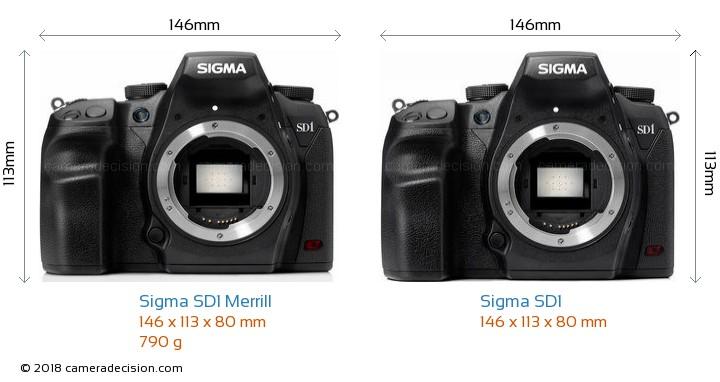 Sigma SD1 Merrill vs Sigma SD1 Camera Size Comparison - Front View