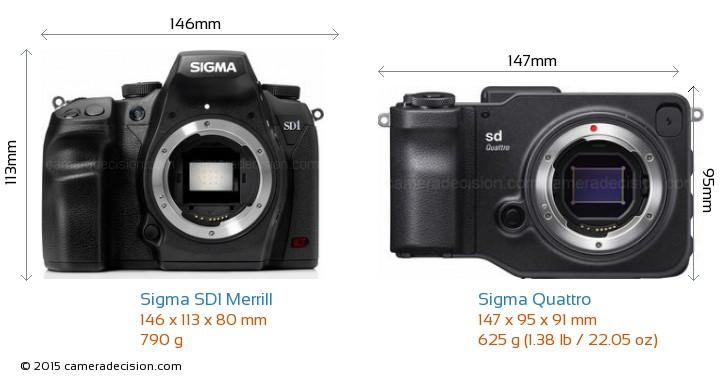 Sigma SD1 Merrill vs Sigma Quattro Camera Size Comparison - Front View