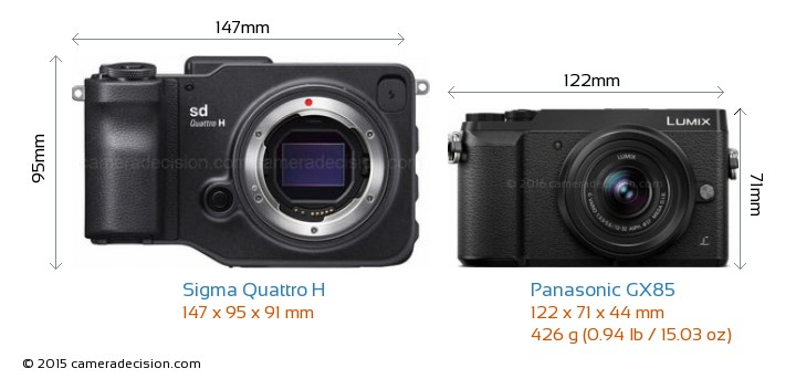 Sigma Quattro H vs Panasonic GX85 Camera Size Comparison - Front View