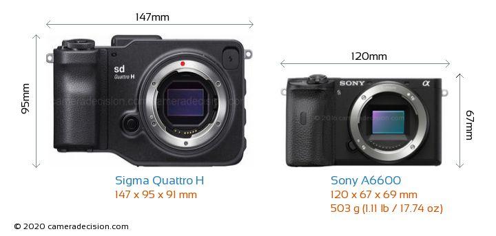 Sigma Quattro H vs Sony A6600 Camera Size Comparison - Front View