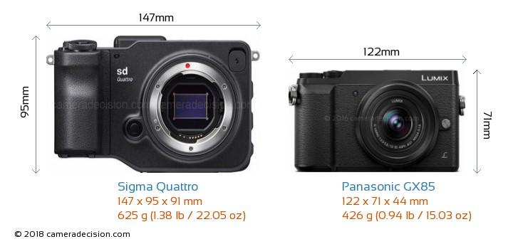 Sigma Quattro vs Panasonic GX85 Camera Size Comparison - Front View