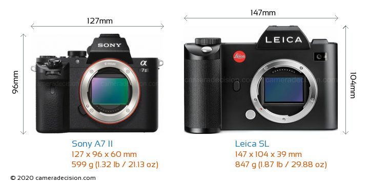 Sony A7 II vs Leica SL Camera Size Comparison - Front View