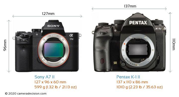 Sony A7 II vs Pentax K-1 II Camera Size Comparison - Front View
