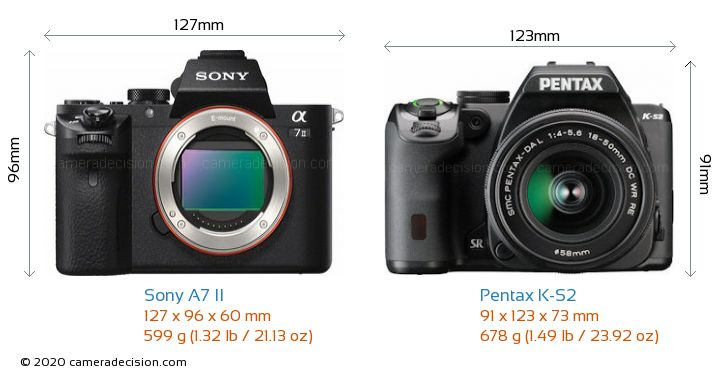 Sony A7 II vs Pentax K-S2 Camera Size Comparison - Front View