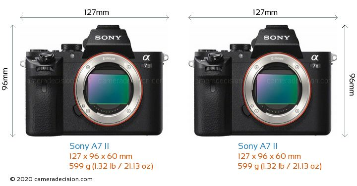 Sony A7 II vs Sony A7 II Camera Size Comparison - Front View