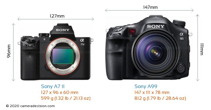 Sony A7 II vs Sony A99 Camera Size Comparison - Front View