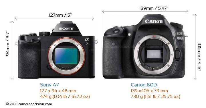 Sony A7 vs Canon 80D Camera Size Comparison - Front View