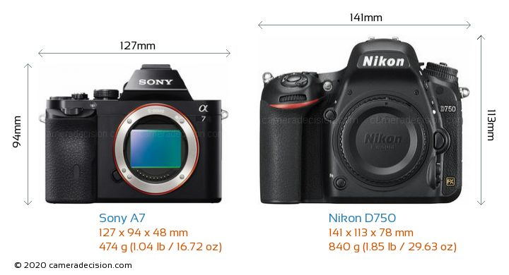 Sony A7 vs Nikon D750 Camera Size Comparison - Front View