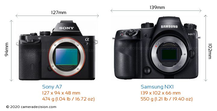 Sony A7 vs Samsung NX1 Camera Size Comparison - Front View