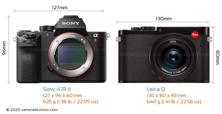 Sony A7R II vs Leica Q Camera Size Comparison - Front View