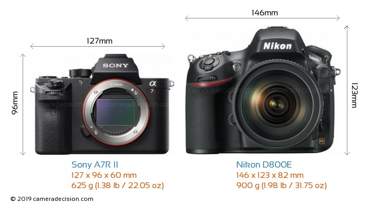 Sony A7R II vs Nikon D800E Camera Size Comparison - Front View