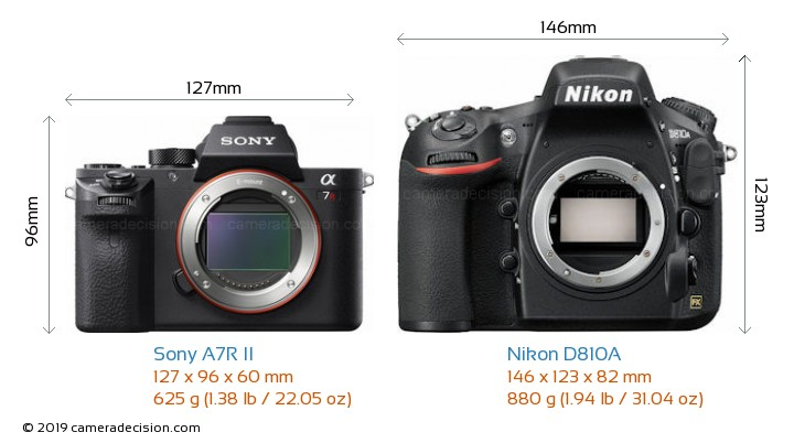 Sony A7R II vs Nikon D810A Camera Size Comparison - Front View
