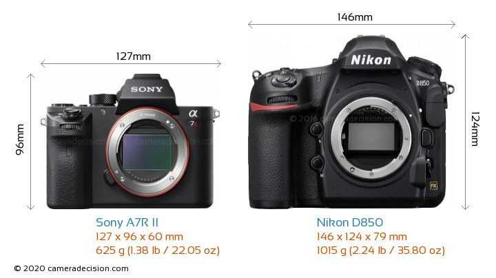 Sony A7R II vs Nikon D850 Camera Size Comparison - Front View