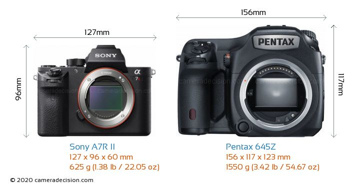 Sony A7R II vs Pentax 645Z Camera Size Comparison - Front View