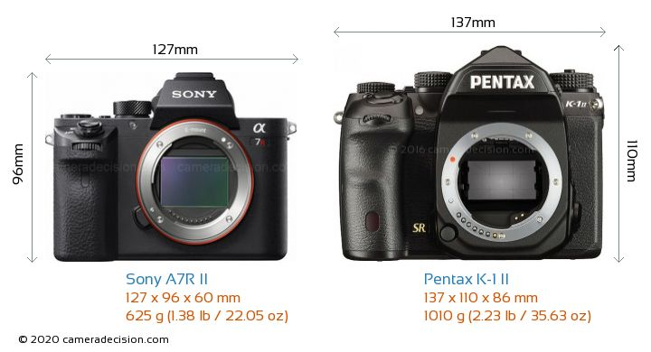 Sony A7R II vs Pentax K-1 II Camera Size Comparison - Front View