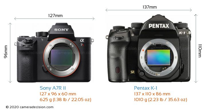 Sony A7R II vs Pentax K-1 Camera Size Comparison - Front View