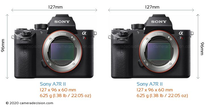 Sony A7R II vs Sony A7R II Camera Size Comparison - Front View