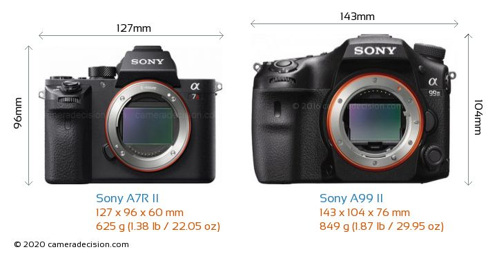 Sony A7R II vs Sony A99 II Camera Size Comparison - Front View
