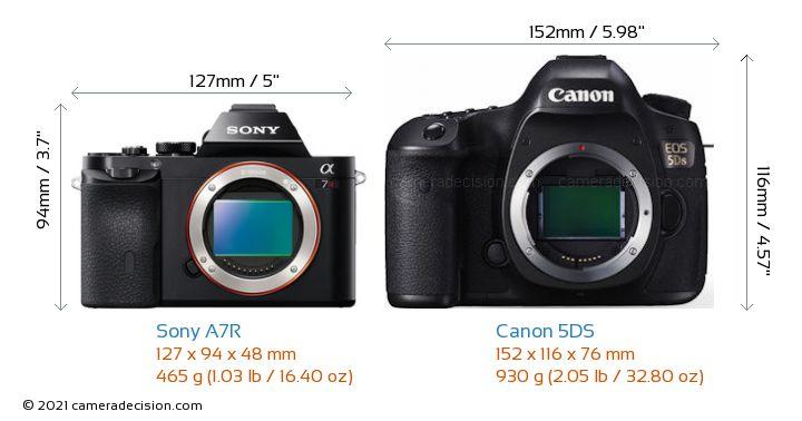 Sony A7R vs Canon 5DS Camera Size Comparison - Front View