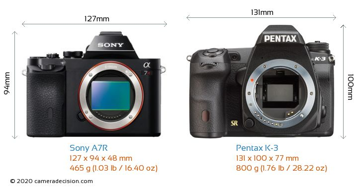Sony A7R vs Pentax K-3 Camera Size Comparison - Front View
