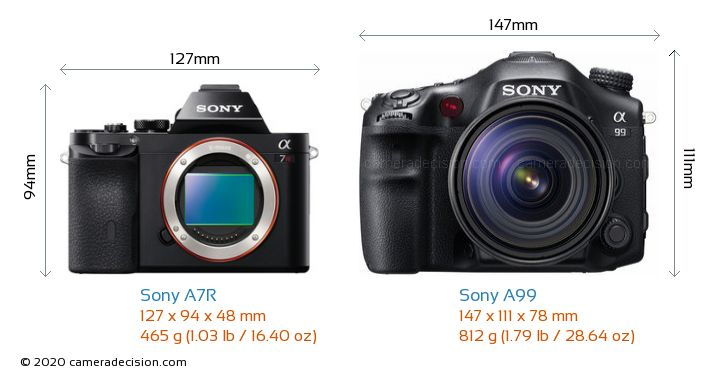 Sony A7R vs Sony A99 Camera Size Comparison - Front View