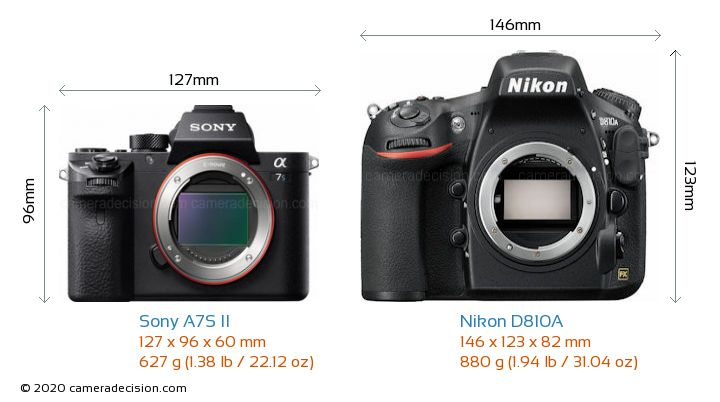 Sony A7S II vs Nikon D810A Camera Size Comparison - Front View
