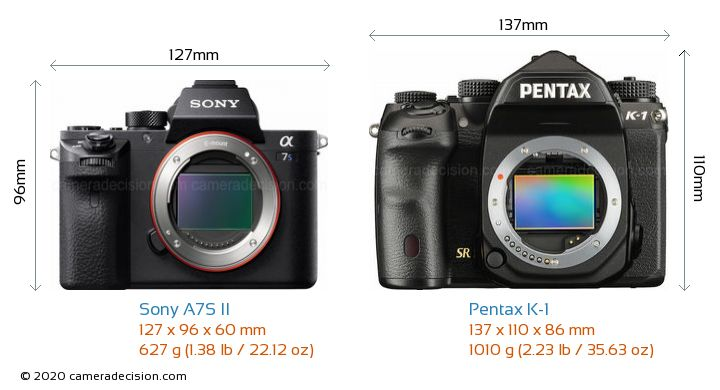 Sony A7S II vs Pentax K-1 Camera Size Comparison - Front View