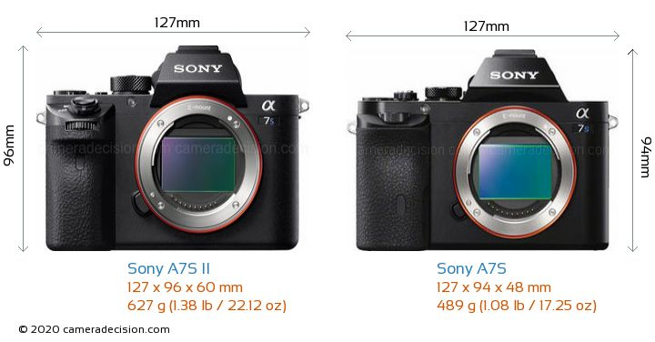 Sony A7S II vs Sony A7S Camera Size Comparison - Front View