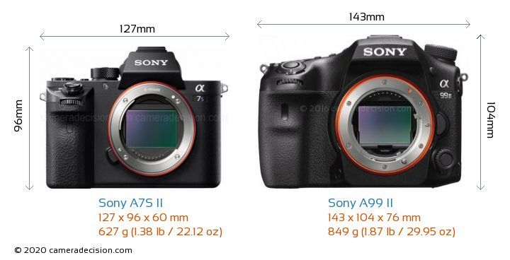 Sony A7S II vs Sony A99 II Camera Size Comparison - Front View
