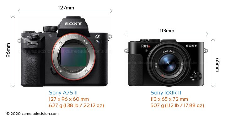 Sony A7S II vs Sony RX1R II Camera Size Comparison - Front View
