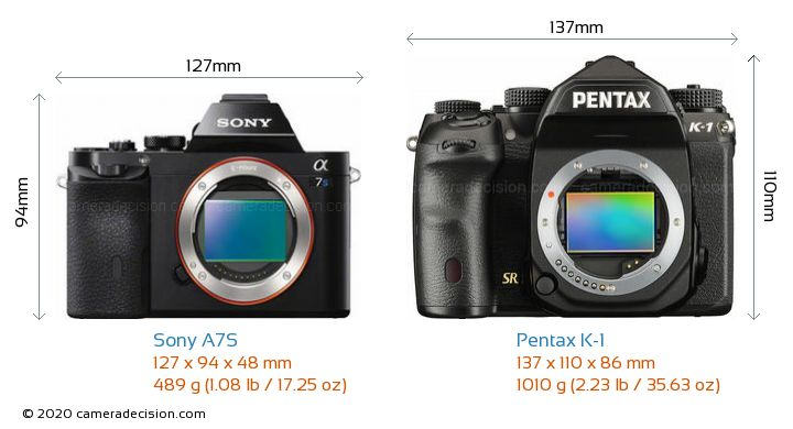 Sony A7S vs Pentax K-1 Camera Size Comparison - Front View
