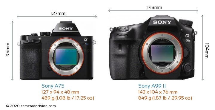 Sony A7S vs Sony A99 II Camera Size Comparison - Front View