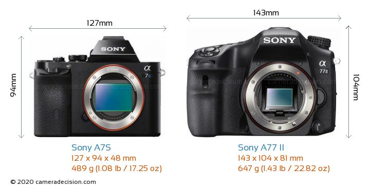 Sony A7S vs Sony A77 II Camera Size Comparison - Front View