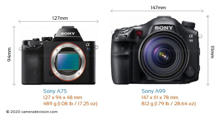 Sony A7S vs Sony A99 Camera Size Comparison - Front View