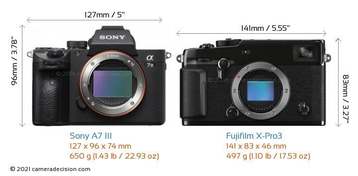 Sony A7 III vs Fujifilm X-Pro3 Camera Size Comparison - Front View
