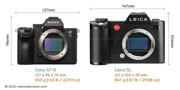 Sony A7 III vs Leica SL Camera Size Comparison - Front View