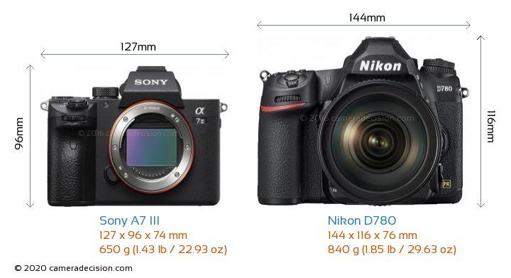 Sony A7 III vs Nikon D780 Camera Size Comparison - Front View
