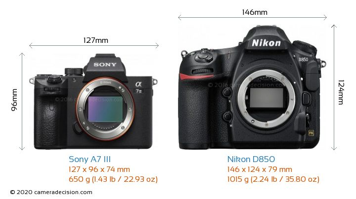 Sony A7 III vs Nikon D850 Camera Size Comparison - Front View